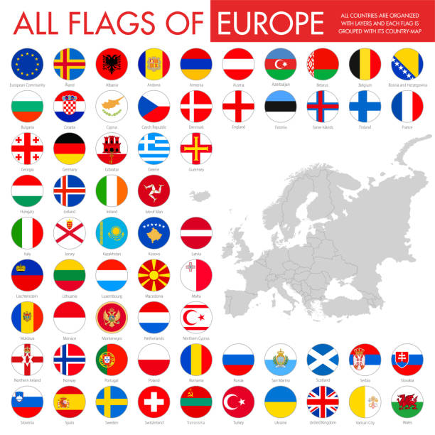 ilustraciones, imágenes clip art, dibujos animados e iconos de stock de europa-banderas redondeadas - bandera sueca