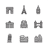 Europe famous place outline vector icon set.\n\n9 Outline style black and white icons / Set #11\n\nCONTENT BY ROWS\n\nFirst row of outline icons contains: \nArc de Triomphe - Paris, Eiffel tower - Paris, Big Ben - London.\n\nSecond row contains: \nBrandenburg Gate - Berlin, Sagrada Familia - Barcelona, Tower Bridge - London.\n\nThird row contains: \nLeaning Tower of Pisa, Coliseum - Rome, Amsterdam buildings.\n\nPixel Perfect Principle - all the icons are designed in 64x64 px grid, outline stroke 2 px.\n\nComplete Outline 3x3 PRO collection - https://www.istockphoto.com/collaboration/boards/hyo8kGplAEWxASfzDWET0Q