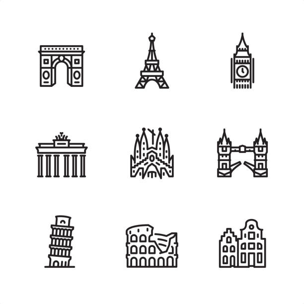 illustrations, cliparts, dessins animés et icônes de sites d'europe - icônes de pixel perfect contour - rome