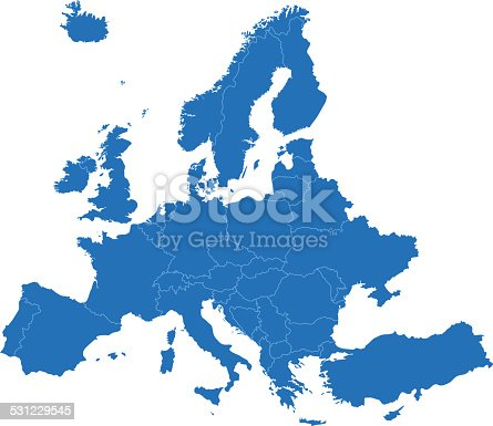 istock Europe simple blue map on white background 531229545