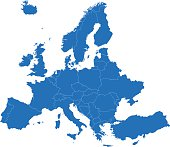 Europe simple blue map on white background