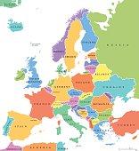 Europe single states political map