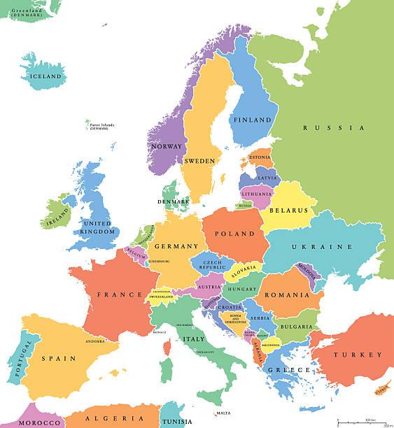 mapa polityczna pojedynczych państw europy - białoruś stock illustrations