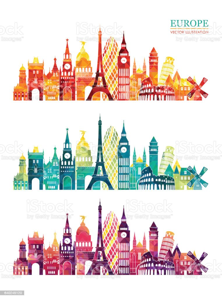 Europe skyline detailed silhouette. Travel and tourism background Vector illustration - ilustración de arte vectorial