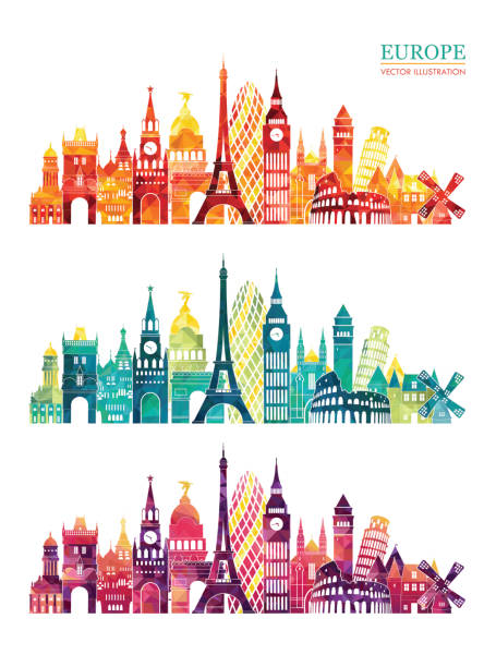ilustrações, clipart, desenhos animados e ícones de europe skyline detailed silhouette. travel and tourism background vector illustration - viagem à europa