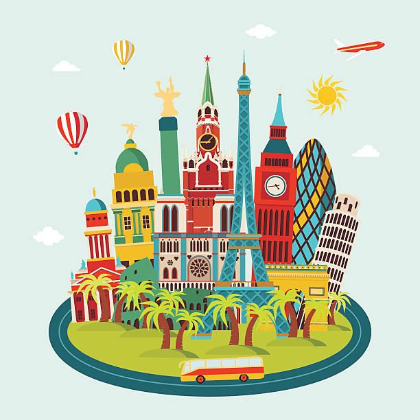 ヨーロッパの街並みの詳細なシルエットを作ります。ベクトルイラスト - ヨーロッパ旅行点のイラスト素材/クリップアート素材/マンガ素材/アイコン素材