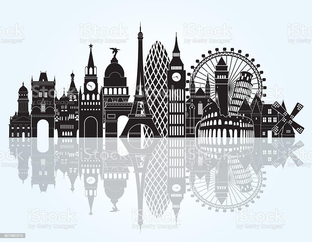 ヨーロッパの街並みの詳細なシルエットを作りますベクトルイラスト