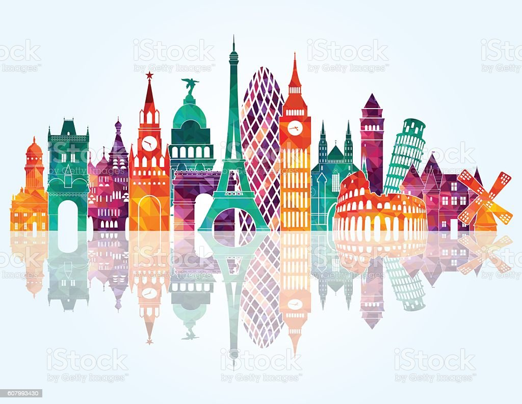 Europe skyline detailed silhouette. Vector illustration vector art illustration