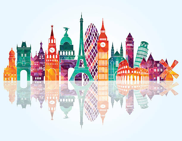 europe skyline detailed silhouette. vector illustration - travel destinations stock illustrations