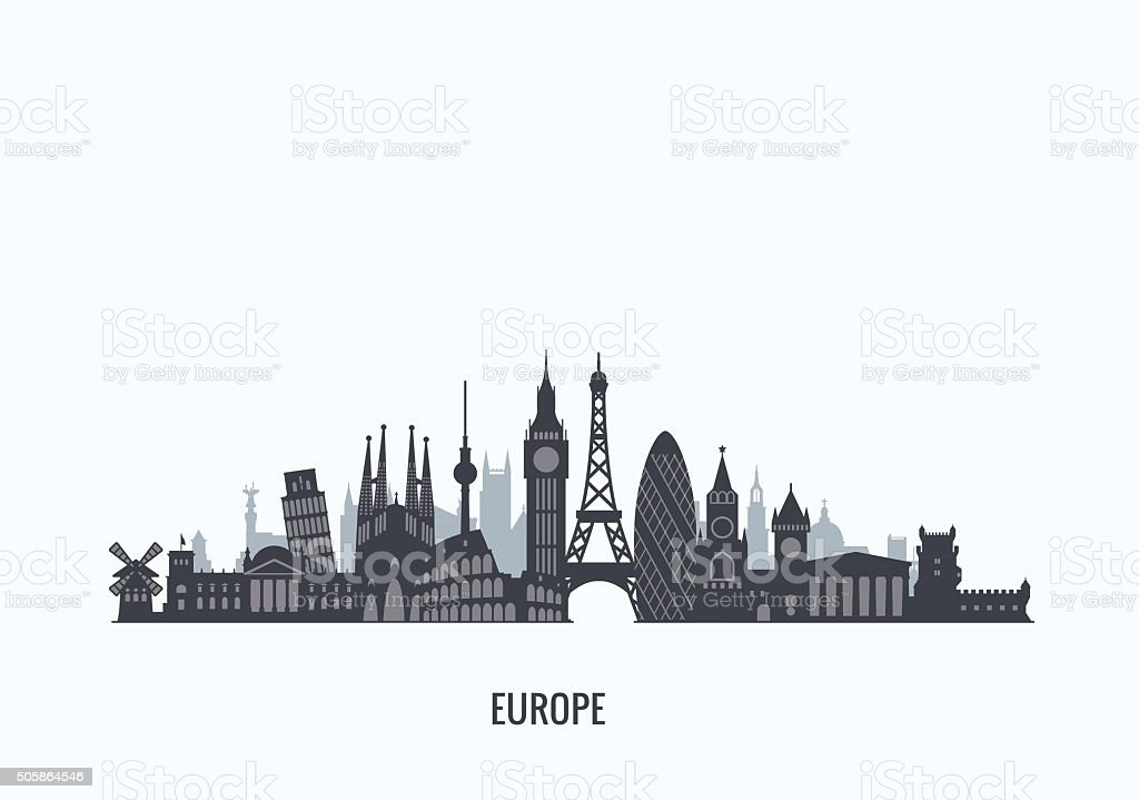 Europe skyline silhouette. vector art illustration