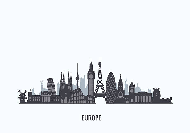europe skyline silhouette. - europe travel stock illustrations, clip art, cartoons, & icons