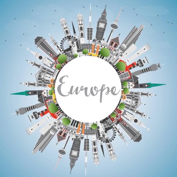 bildbanksillustrationer, clip art samt tecknat material och ikoner med europe skyline silhouette with different landmarks and copy space - berlin street