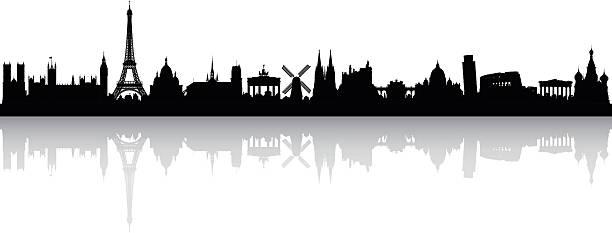 bildbanksillustrationer, clip art samt tecknat material och ikoner med europe skyline (buildings are detailed, complete and moveable) - berlin city