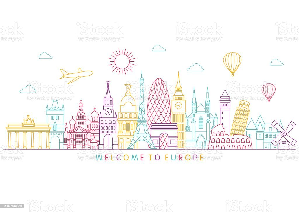 Europe skyline. Vector line illustration. Line style design vector art illustration