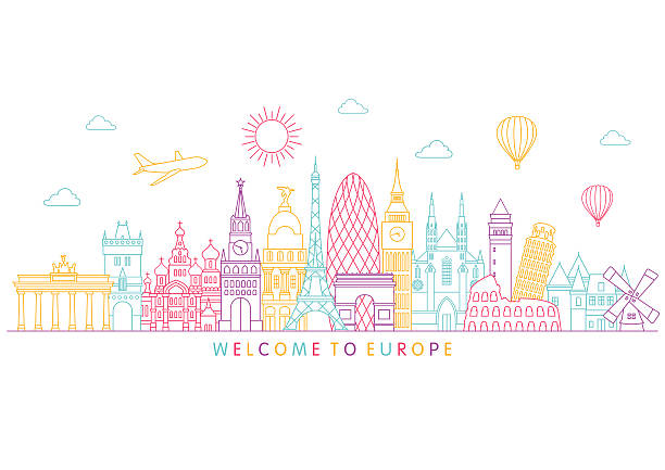 europe skyline. vector line illustration. line style design - europe travel stock illustrations, clip art, cartoons, & icons