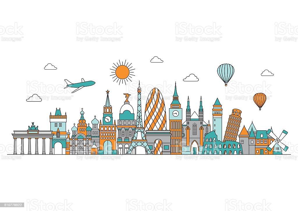 ヨーロッパの街並みを一望できますベクトルラインイラストラインスタイル