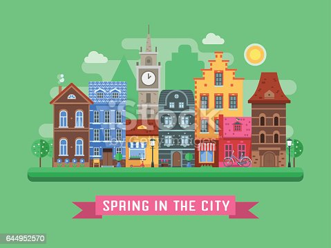 Europe spring street background with traditional houses, clock tower, blossoming trees and flower pots by sunny day. Old city urban landscape with colorful building facades and springtime symbols.
