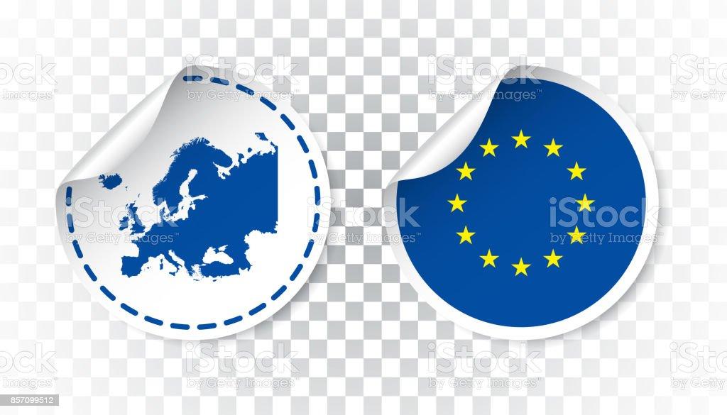 国旗と地図ヨーロッパ ステッカー。欧州連合ラベル、タグ国とラウンド。孤立した背景のベクトル図。 ベクターアートイラスト