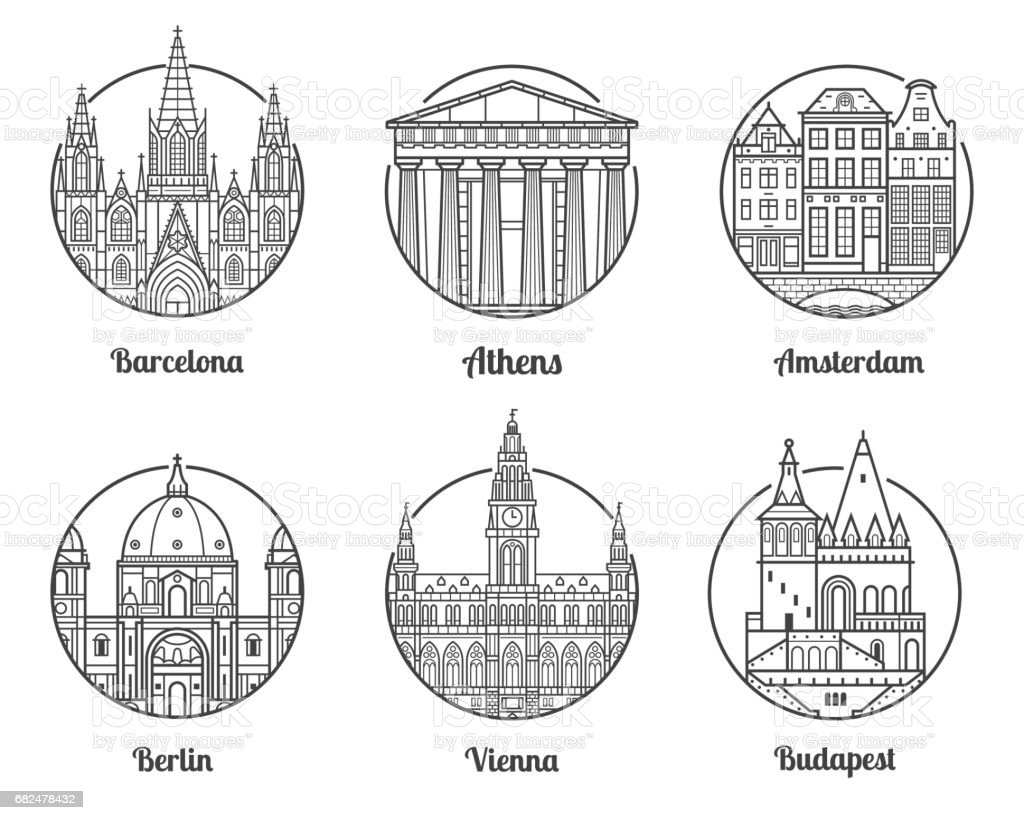 Europe Travel Destinations vector art illustration