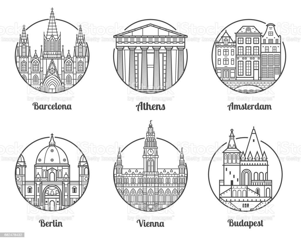 Destinos de viagem da Europa - ilustração de arte em vetor