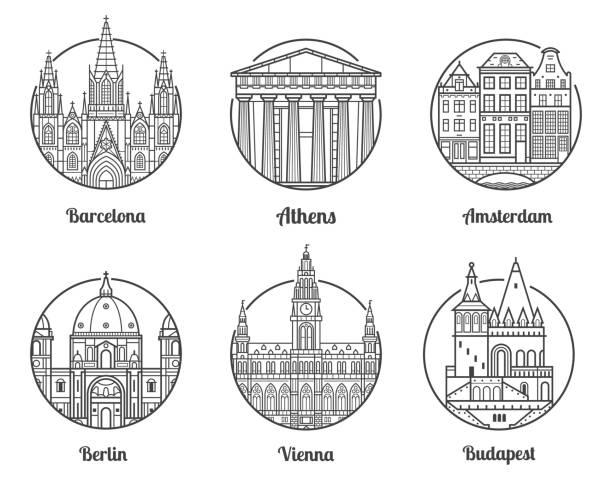 bildbanksillustrationer, clip art samt tecknat material och ikoner med resmål europa - berlin city