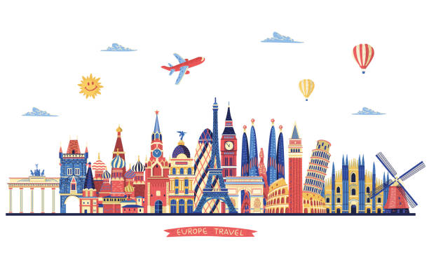 europe travel. europe famous monuments. travel and tourism background - travel destinations stock illustrations