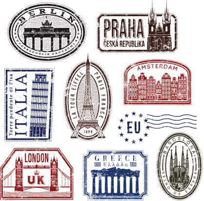 Europe travel rubber stamps