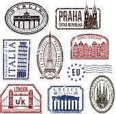 European travel rubber stamps.