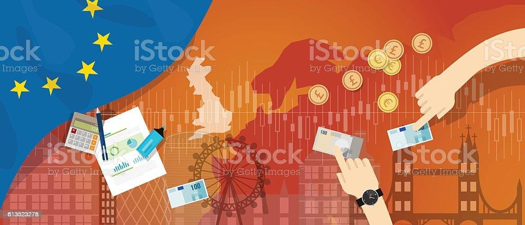 Europe UK England economy after Brexit British exit vector art illustration