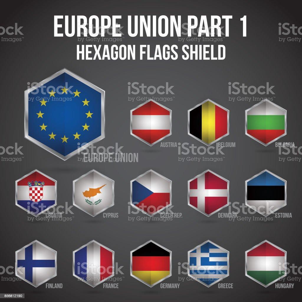 Europa Unie zeshoek vlaggen Shield deel 1vectorkunst illustratie