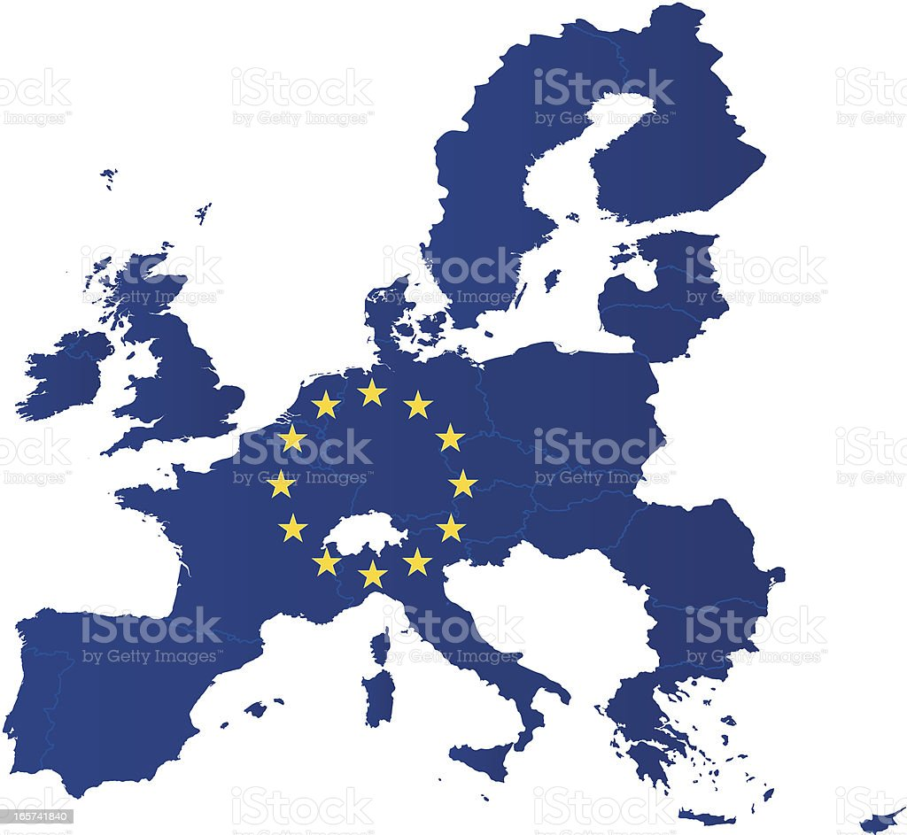 Europe Union map with flag vector art illustration