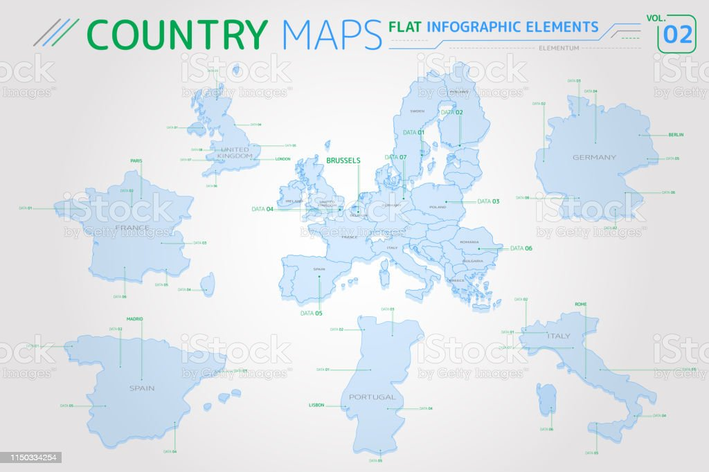 Map Of Spain Portugal And France.Europe United Kingdom France Spain Portugal Italy And Germany Vector