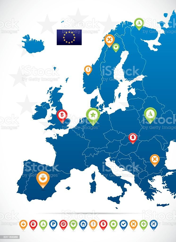 Europe Vector Map vector art illustration