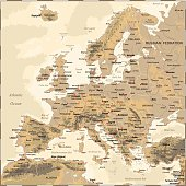 Vintage Map Of Europe Illustration Stock Vector Art & More Images of ...