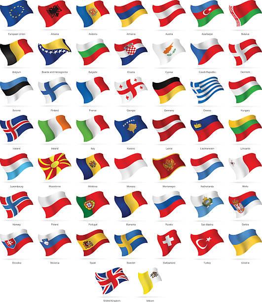 europa-waving flags-illustration - flagge irland stock-grafiken, -clipart, -cartoons und -symbole