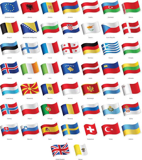 ヨーロッパを振るのフラッグ-イラストレーション ベクターアートイラスト