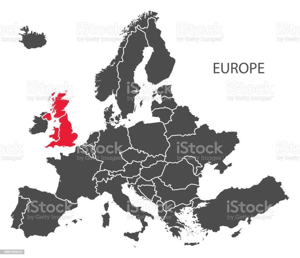 Europe with countries Map dark grey including highlighted Britain in red vector art illustration