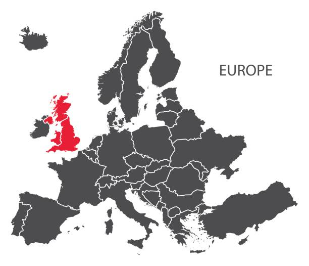 Europa mit Ländern Karte dunkelgrau einschließlich hervorgehobenen Großbritannien in rot – Vektorgrafik