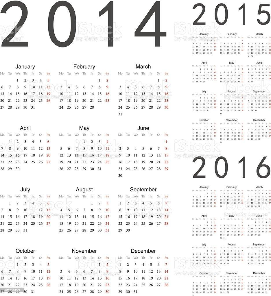 European 2014 2015 2016 Year Vector Calendars Stock Vector Art