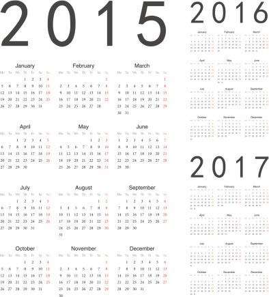 European 2015, 2016, 2017 year vector calendars