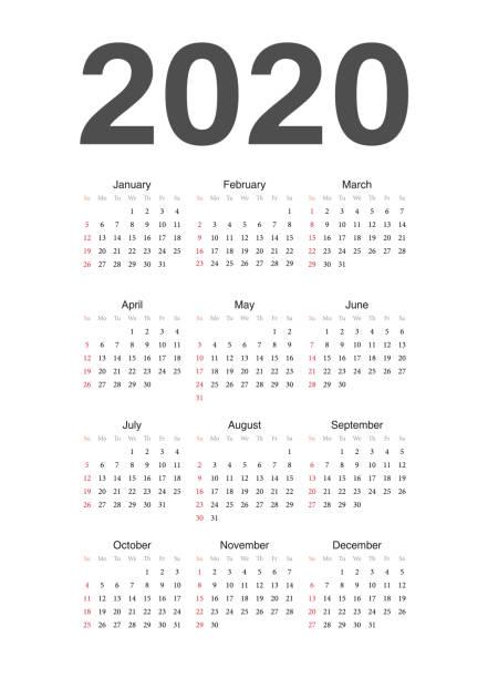 European 2020 year vector calendar. Simple european 2020 year vector calendar. Week starts from Sunday. Anglo American stock illustrations