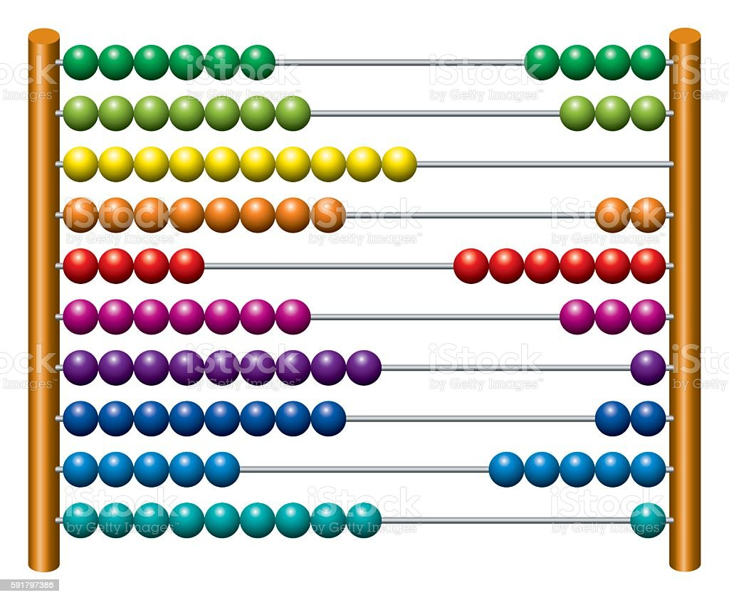 European abacus counting frame vector art illustration