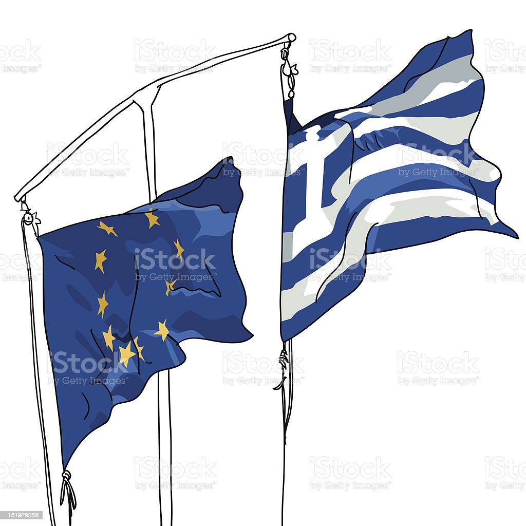European and Greek flag in turbulency vector art illustration