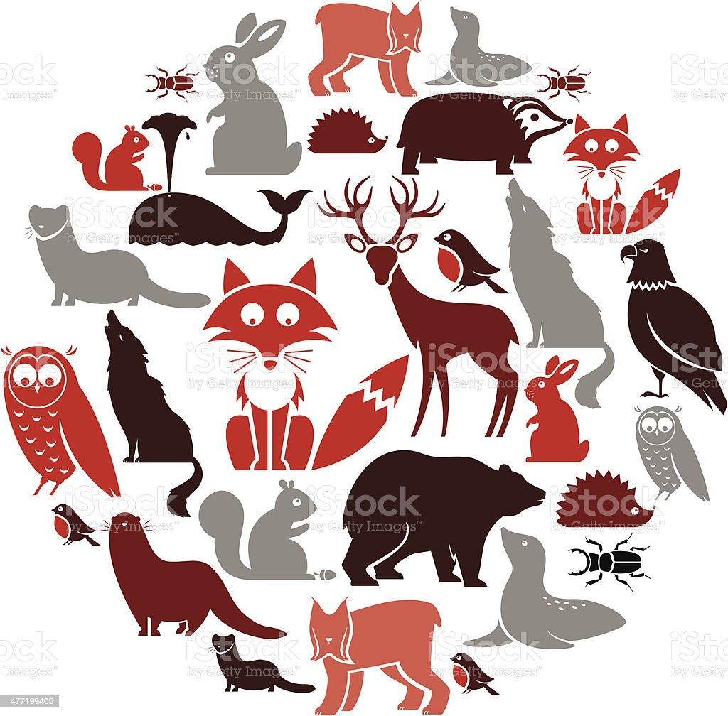 European Animal Icon Set vector art illustration