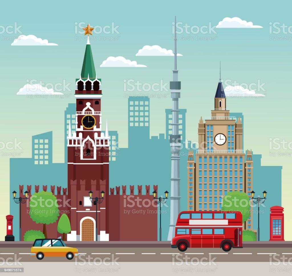 european beautiful cityscape vector art illustration