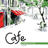 European cafe, graphic drawing in color. Poster