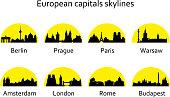 European capitals skylines on the yellow sun background vector set