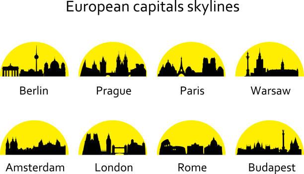 bildbanksillustrationer, clip art samt tecknat material och ikoner med europeiska huvudstäder horisonter - berlin city