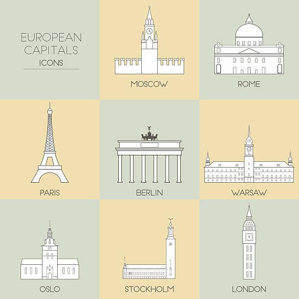 bildbanksillustrationer, clip art samt tecknat material och ikoner med european capitals - skyline stockholm