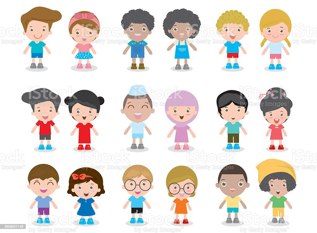 European children, America's kids, Asian child, African kid, happy children vector art illustration